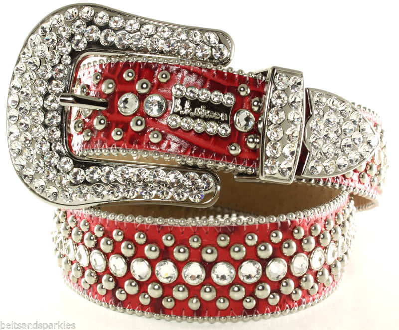 Bb simon swarovski crystal red leather belt 34 l new art for Bb shop